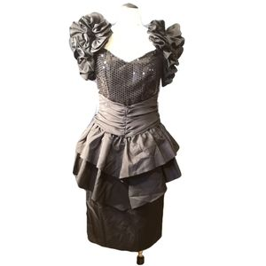 Gorgeous Vintage Couture Gown ruffles sequin tulle
